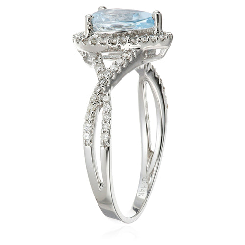 14k White Gold Aquamarine and Diamond Solitaire Infinity Shank Engagement Ring (1/4cttw, H-I Color, I1-I2 Clarity), - pinctore