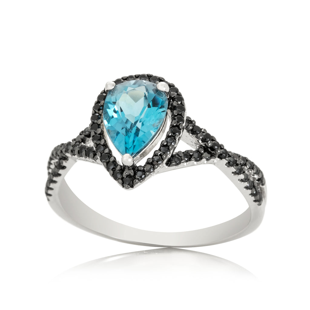 Pinctore 14k WT Gold Swiss Blue Topaz & Diamond Solitaire Engagement Ring - pinctore