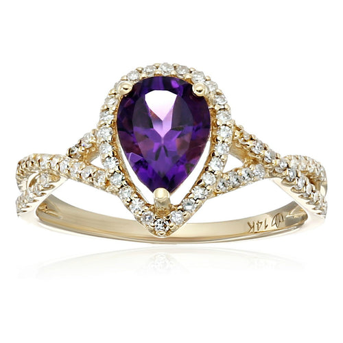 Pinctore 14k Yellow Gold African Amethyst and Diamond Solitaire Infinity Shank Engagement Ring - pinctore