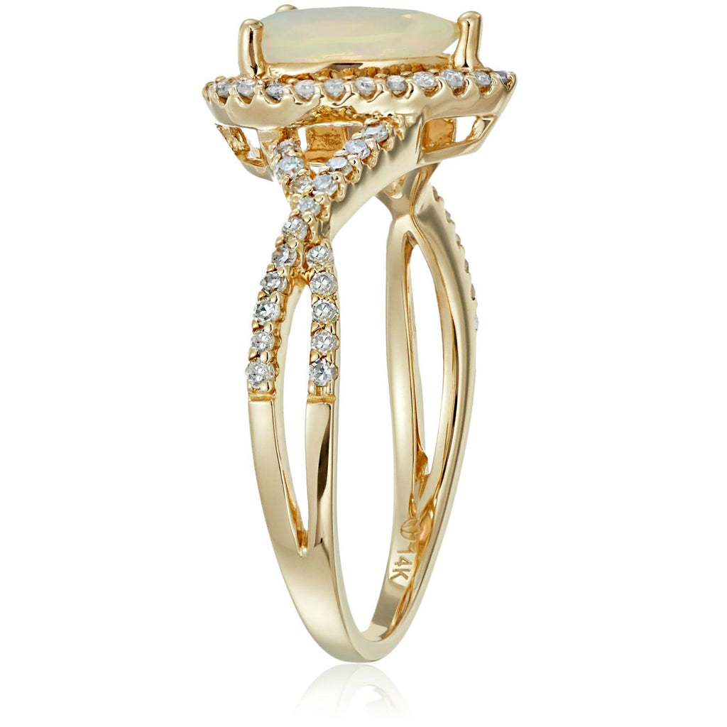 14k Yellow Gold Ethiopian Opal and Diamond Solitaire Infinity Shank Engagement Ring (1/4cttw, H-I Color, I1-I2 Clarity), - pinctore