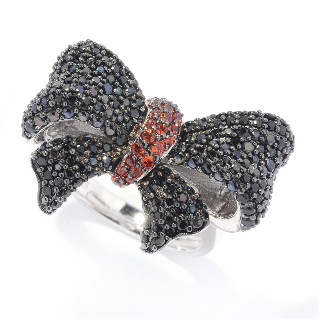 Pinctore Sterling Silver Black Spinel & Red Garnet Bow Ring - pinctore