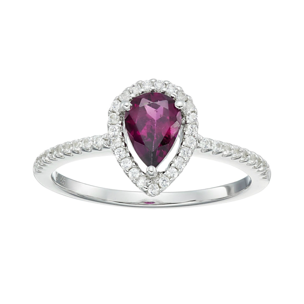 Pinctore Sterling Silver Rhodolite and Created White Sapphire Ring - pinctore