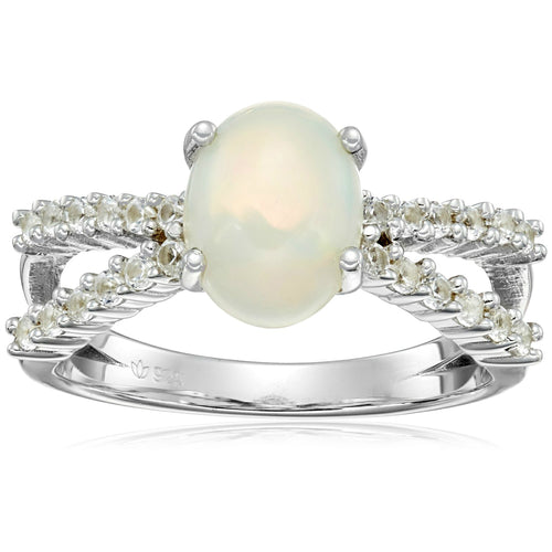 Pinctore Sterling Silver, Ethiopian Opal, and Created White Sapphire Ring - pinctore