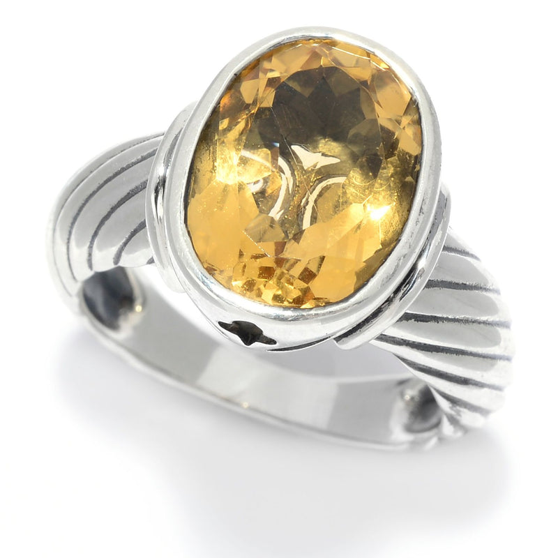 Pinctore Sterling Silver 5.00ctw Oval Citrine Rope Textured Ring - pinctore