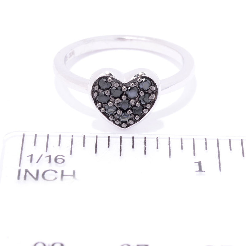 Pinctore Rhodium Over Sterling Silver 0.3ctw Black Spinel Heart Ring