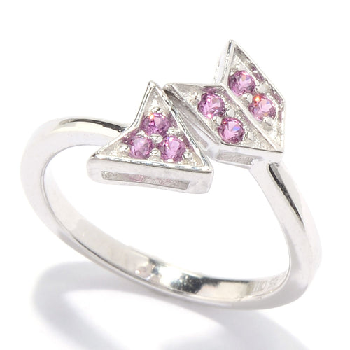 Pinctore Sterling Silver Rhodolite Garnet Arrow Toe Ring - pinctore