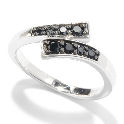 Pinctore Sterling Silver Black Spinel Open Bypass Toe Ring - pinctore
