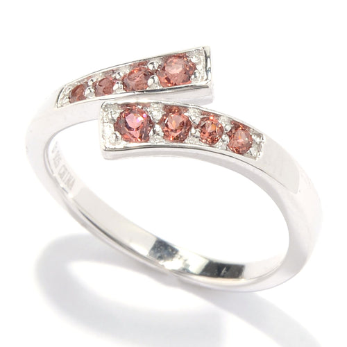 Pinctore Sterling Silver Red Garnet Open Bypass Toe Ring - pinctore