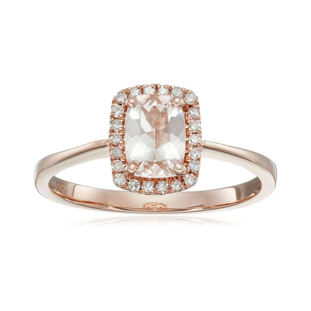 Pinctore 10k Rose gold Cushion-cut Morganite and 1/10ct TDW Diamond Ring (H-I,I1-I2) - pinctore