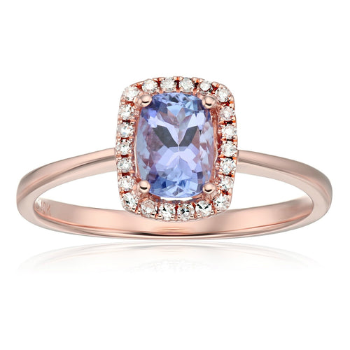 10k Rose Gold Tanzanite and Diamond Cushion Halo Engagement Ring (1/10cttw, H-I Color, I1-I2 Clarity), - pinctore