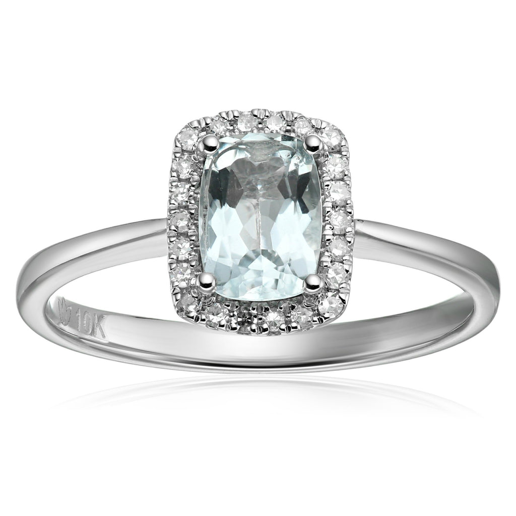 Pinctore 10k White Gold Aquamarine Diamond Cushion Halo Engagement Ring - pinctore