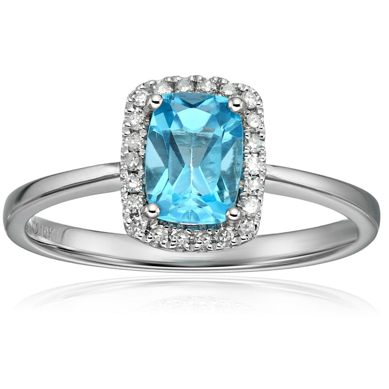 10k White Gold Swiss Blue Topaz and Diamond Cushion Halo Engagement Ring (1/10cttw, H-I Color, I1-I2 Clarity), - pinctore