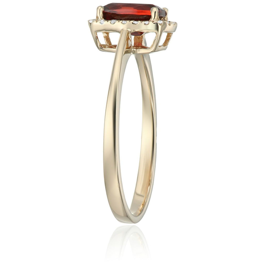 10k Yellow Gold Red Garnet and Diamond Cushion Halo Engagement Ring (1/10cttw, H-I Color, I1-I2 Clarity), - pinctore