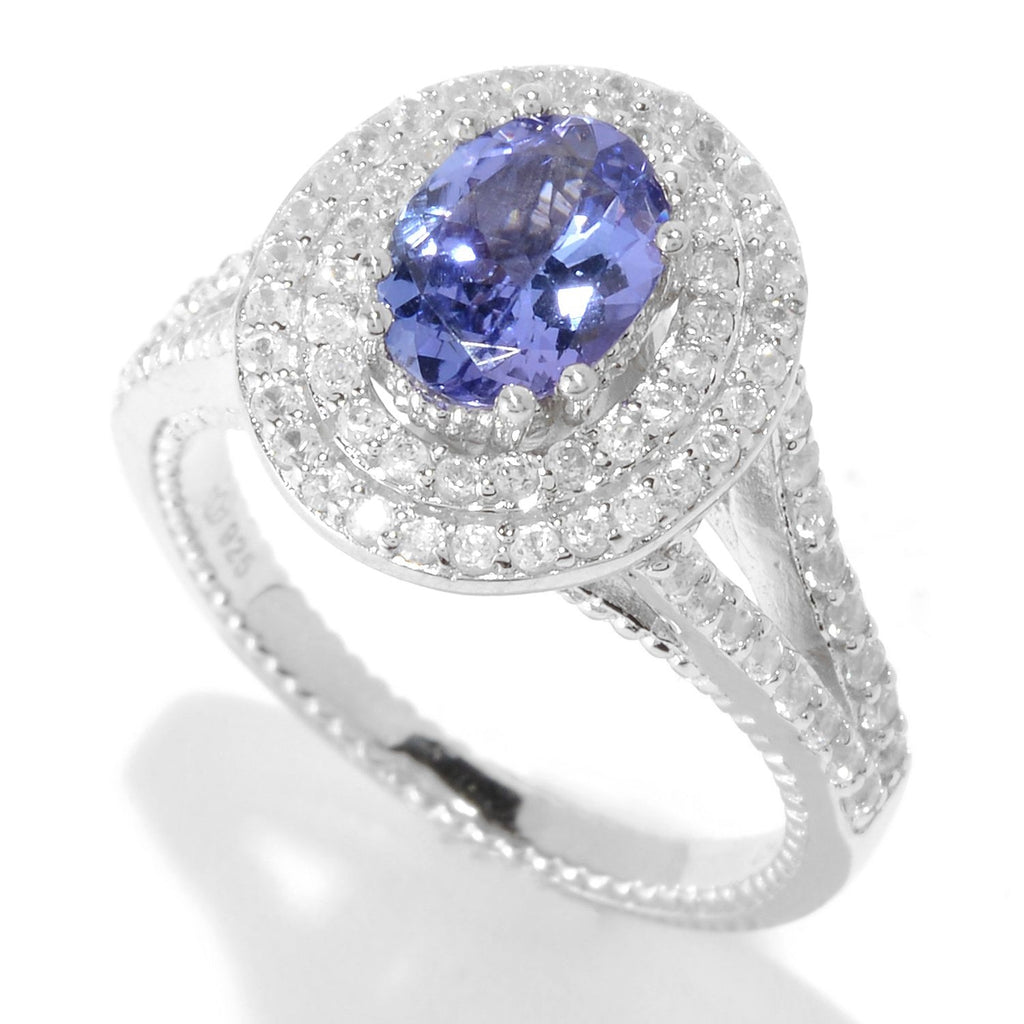 Pinctore Sterling Silver Tanzanite & White Zircon Double Halo Ring - pinctore