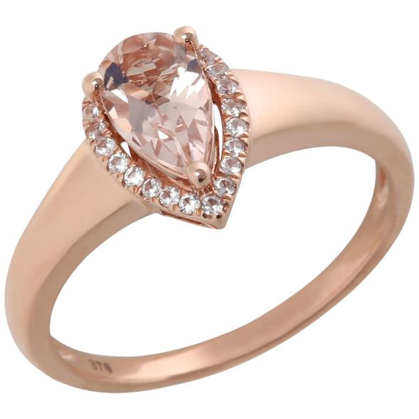 10k Rose Gold Morganite and Diamond Princess Diana Pear Halo Ring (1/10cttw, H-I Color, I1-I2 Clarity), - pinctore