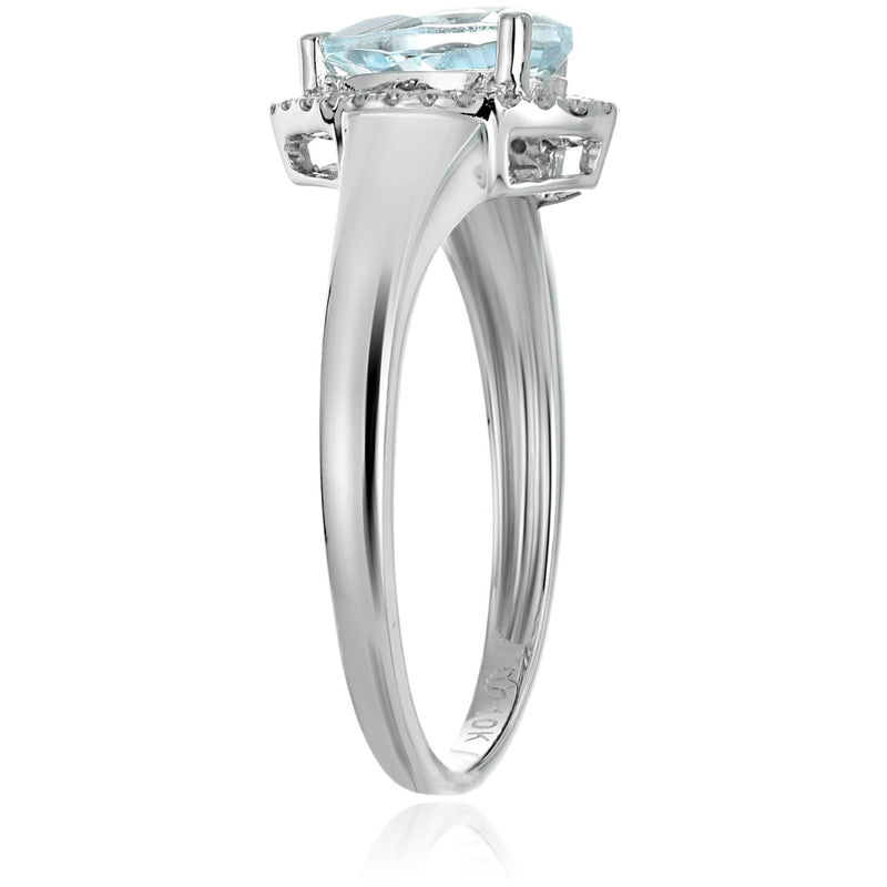 10k White Gold Aquamarine and Diamond Princess Diana Pear Halo Engagement Ring (1/10cttw, H-I Color, I1-I2 Clarity), - pinctore