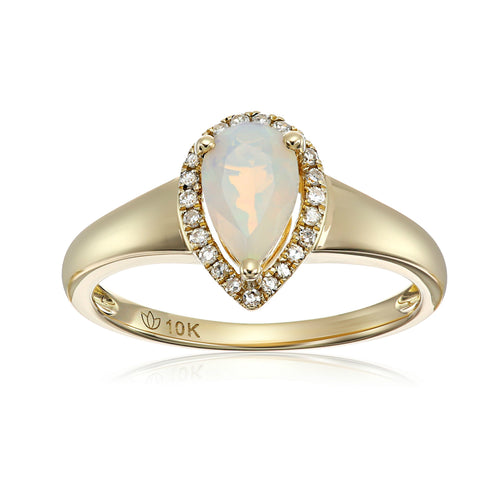10k Yellow Gold Ethiopian Opal and Diamond Princess Diana Pear Halo Engagement Ring (1/10cttw, H-I Color, I1-I2 Clarity), - pinctore