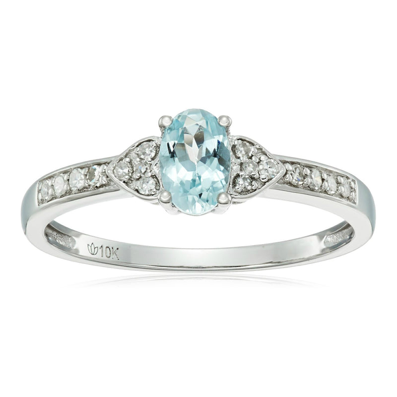 Pinctore 10k White Gold Aquamarine Oval and Diamond Solitaire Ring - pinctore