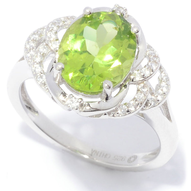 Pinctore Sterling Silver 10 x 8mm Oval Cut Peridot & White Zircon Ring - pinctore