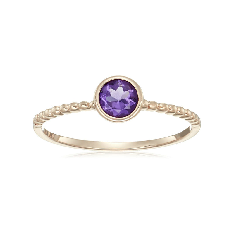 10k Rose Gold African Amethyst Solitaire Beaded Shank Stackable Ring - pinctore