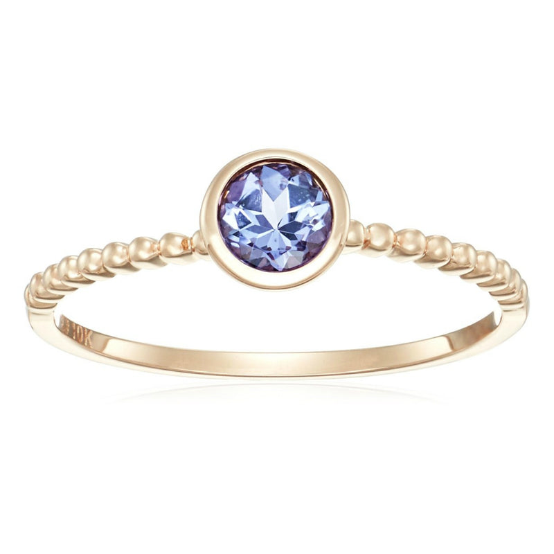 10k Rose Gold Tanzanite Solitaire Beaded Shank Stackable Ring - pinctore