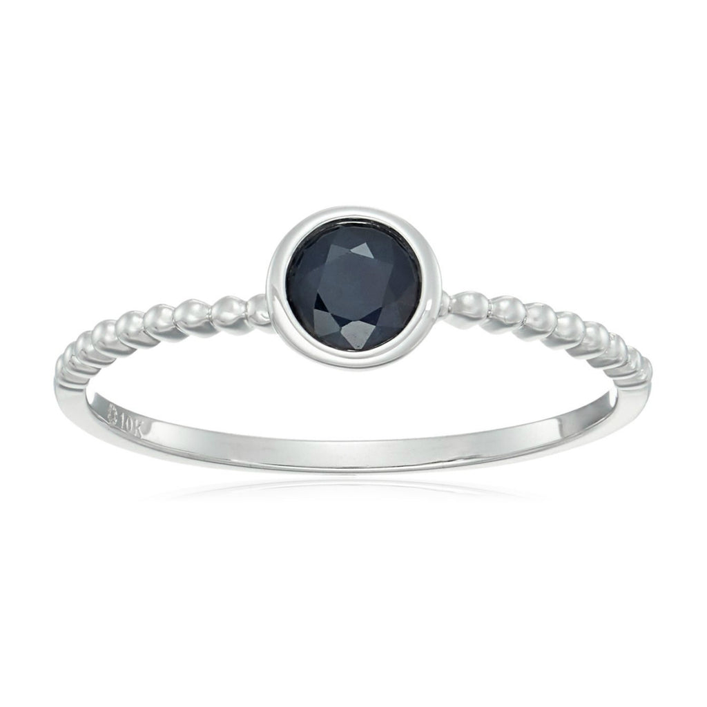 10k White Gold Genuine Blue Sapphire Solitaire Beaded Shank Stackable Ring - pinctore