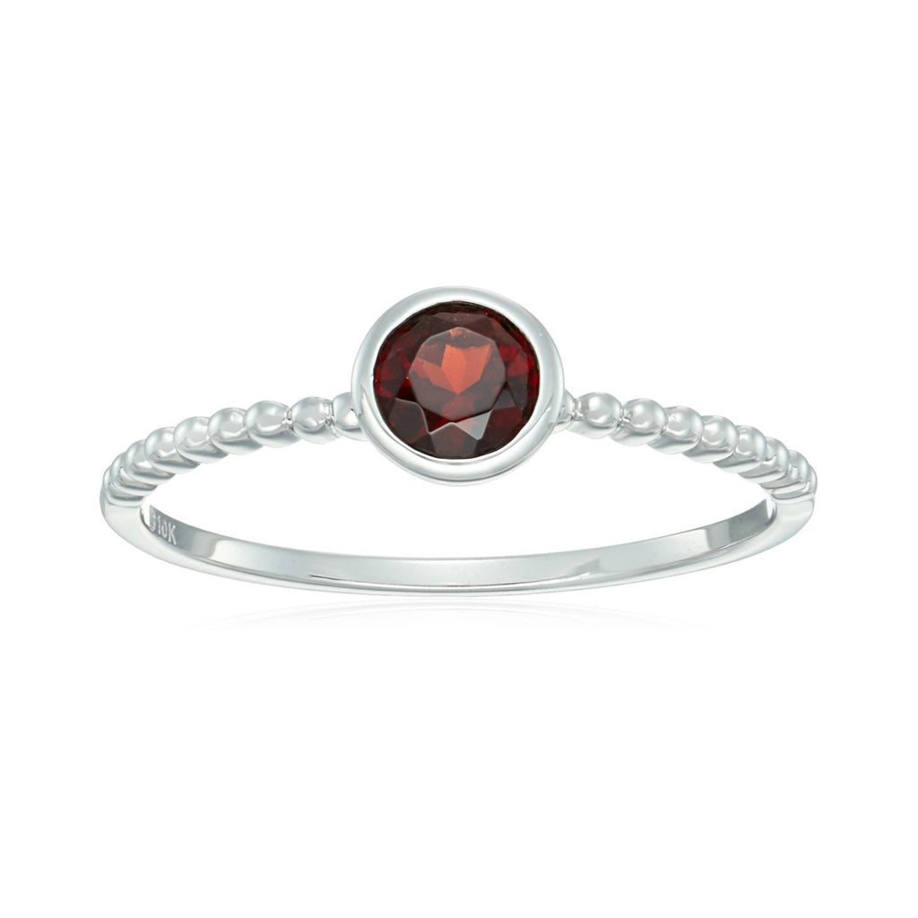 10k White Gold Red Garnet Solitaire Beaded Shank Stackable Ring - pinctore
