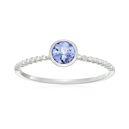 10k White Gold Tanzanite Solitaire Beaded Shank Stackable Ring - pinctore