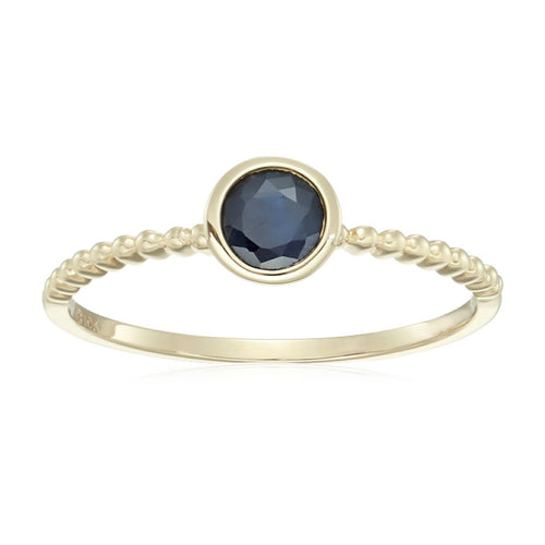 10k Yellow Gold Genuine Blue Sapphire Solitaire Beaded Shank Stackable Ring - pinctore