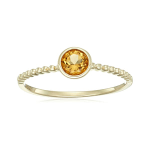 10k Yellow Gold Citrine Solitaire Beaded Shank Stackable Ring - pinctore