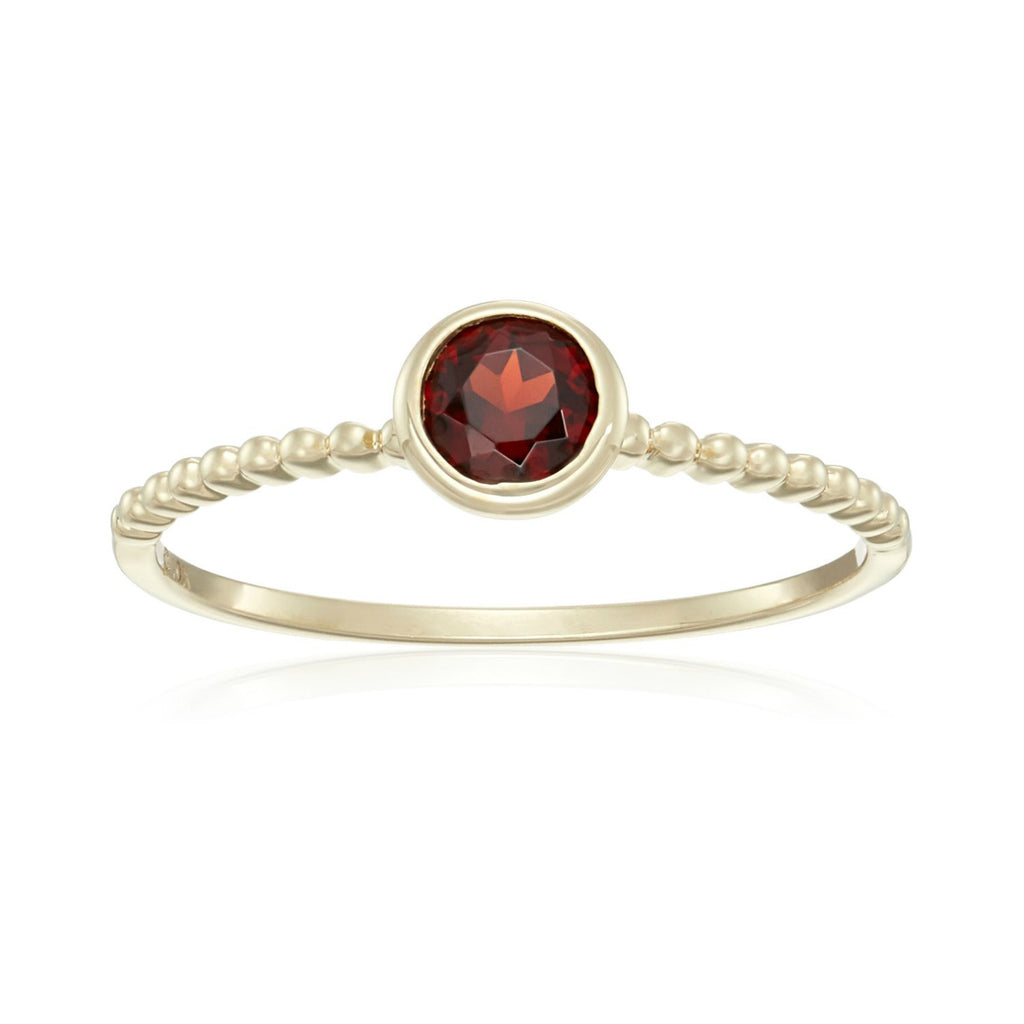 10k Yellow Gold Red Garnet Solitaire Beaded Shank Stackable Ring - pinctore