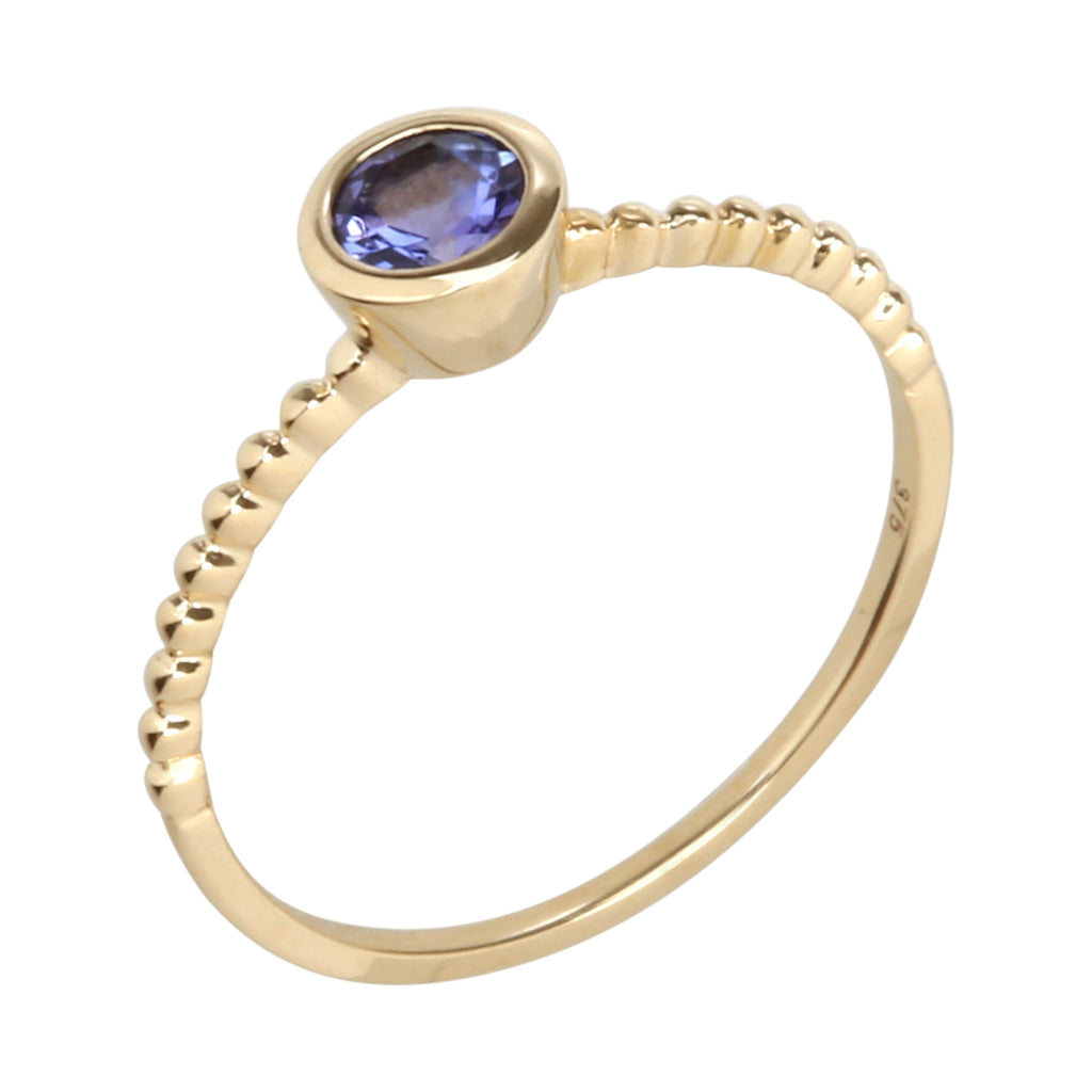 10k Yellow Gold Tanzanite Round Solitaire Beaded Shank Stackable Ring - pinctore