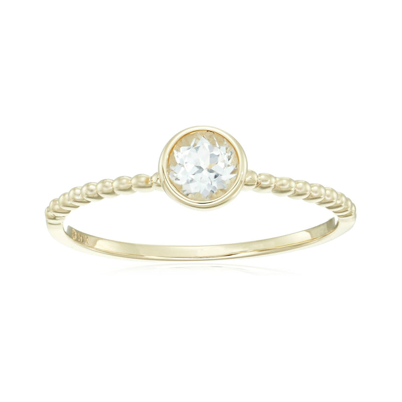 Pinctore 10k Yellow Gold White Topaz Solitaire Beaded Shank Stackable Ring - pinctore