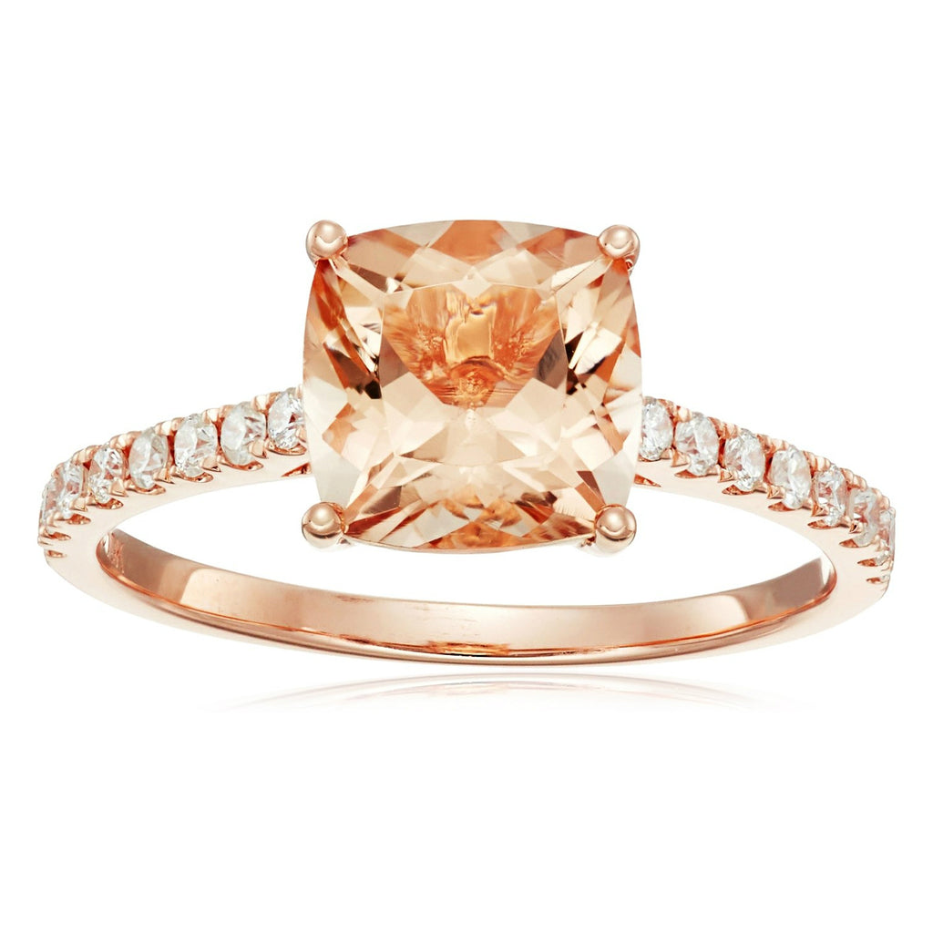 10k Rose Gold Morganite Cushion and Diamond Solitaire Ring (1/4 cttw H-I Color, I1-I2 Clarity), - pinctore