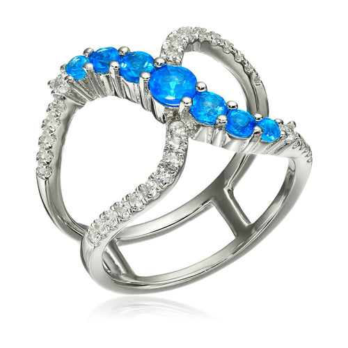 Pinctore Sterling Silver Neon Apatite & Created White Sapphire Ring - pinctore