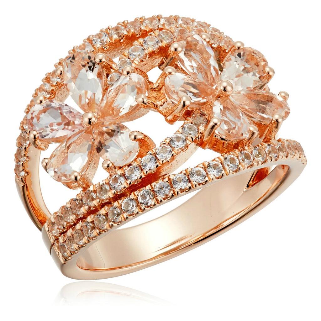 Pinctore Rose Gold-Plated Silver Morganite and Created White Sapphire Bypass Flower Ring - pinctore