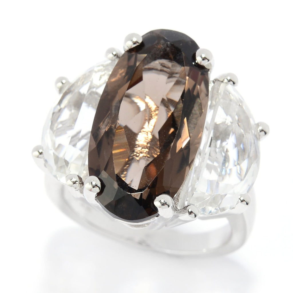 Pinctore Rhodium Over Ster Silver 13ctw Smoky Quartz & White Quartz Cocktail Ring - pinctore