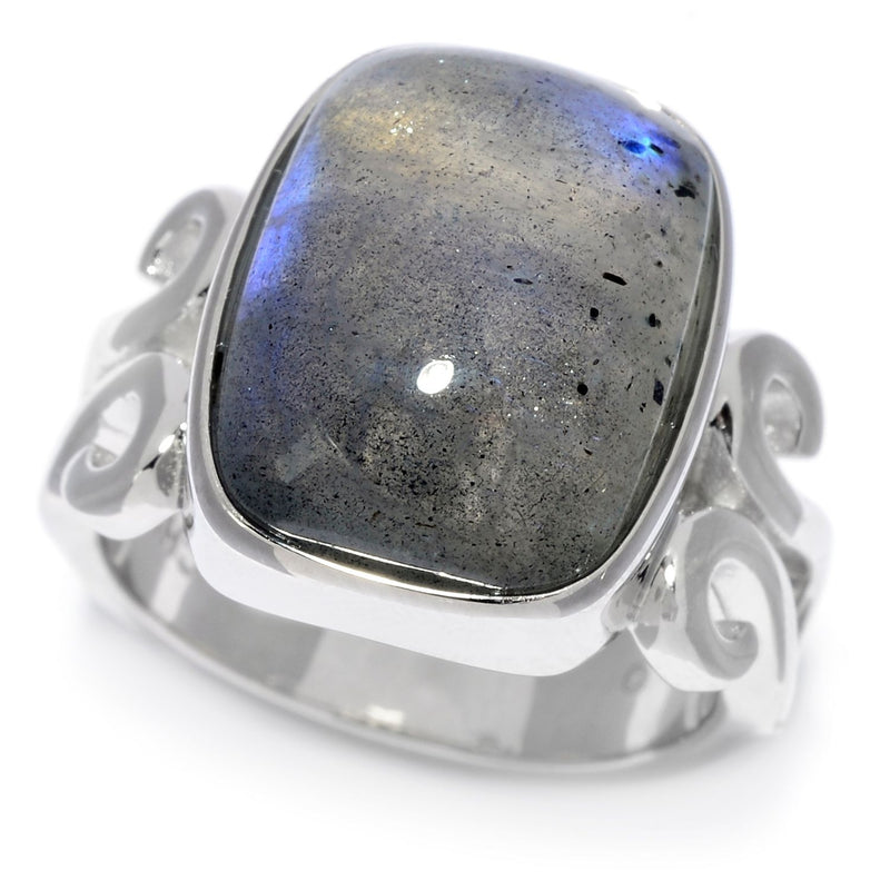 Pinctore Sterling Silver 16 x 12mm Cushion Shaped Labradorite Scrollwork Ring - pinctore