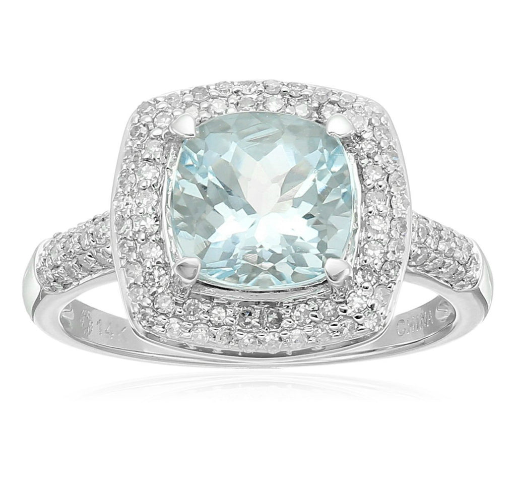Pinctore 14k White Gold Aquamarine Cushion and Diamond Halo Ring - pinctore