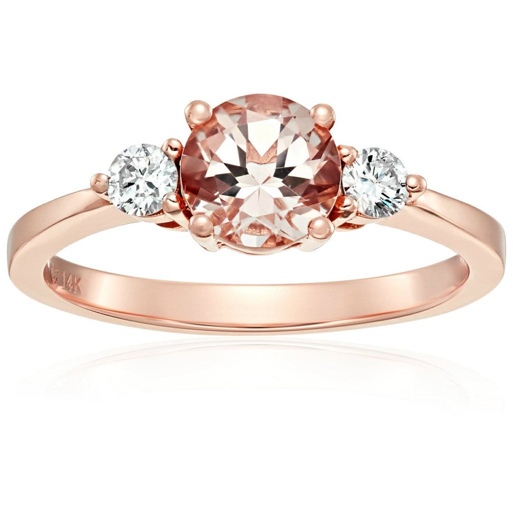Pinctore 14k Rose Gold Morganite And Diamond 3-stone Engagement Ring - pinctore