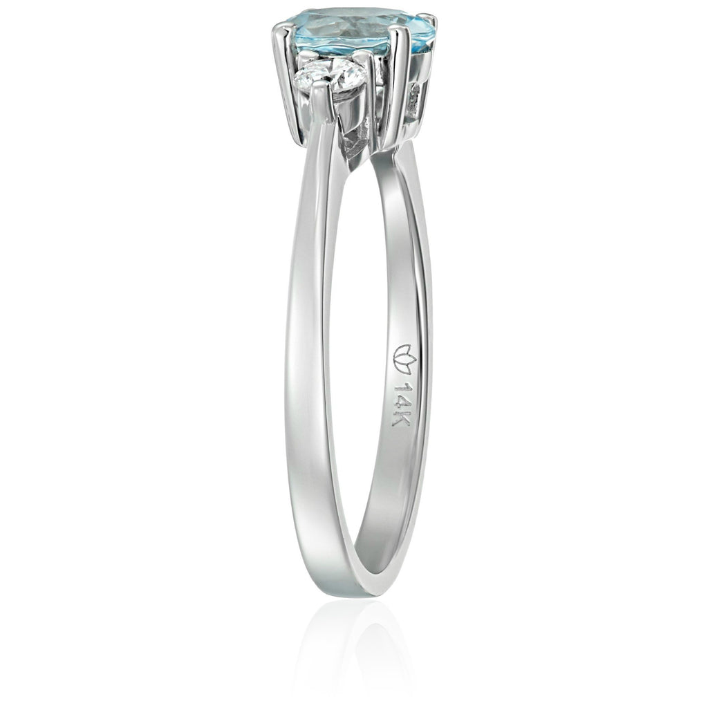 14k White Gold Aquamarine And Diamond 3-stone Engagement Ring  (1/5cttw, H-I Color, SI2 Clarity), - pinctore