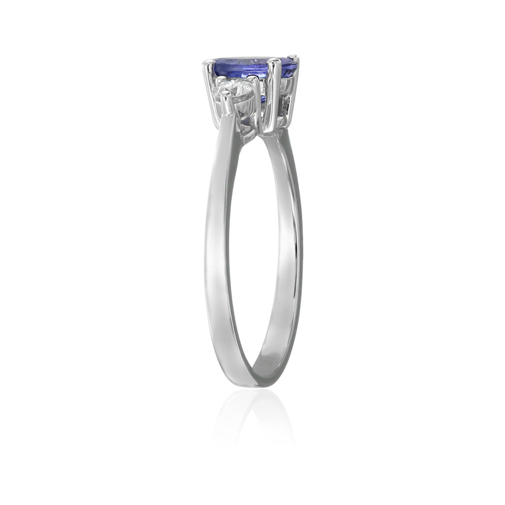 14k White Gold AAA Tanzanite And Diamond 3-stone Engagement Ring (1/5cttw, H-I Color, SI2 Clarity), - pinctore