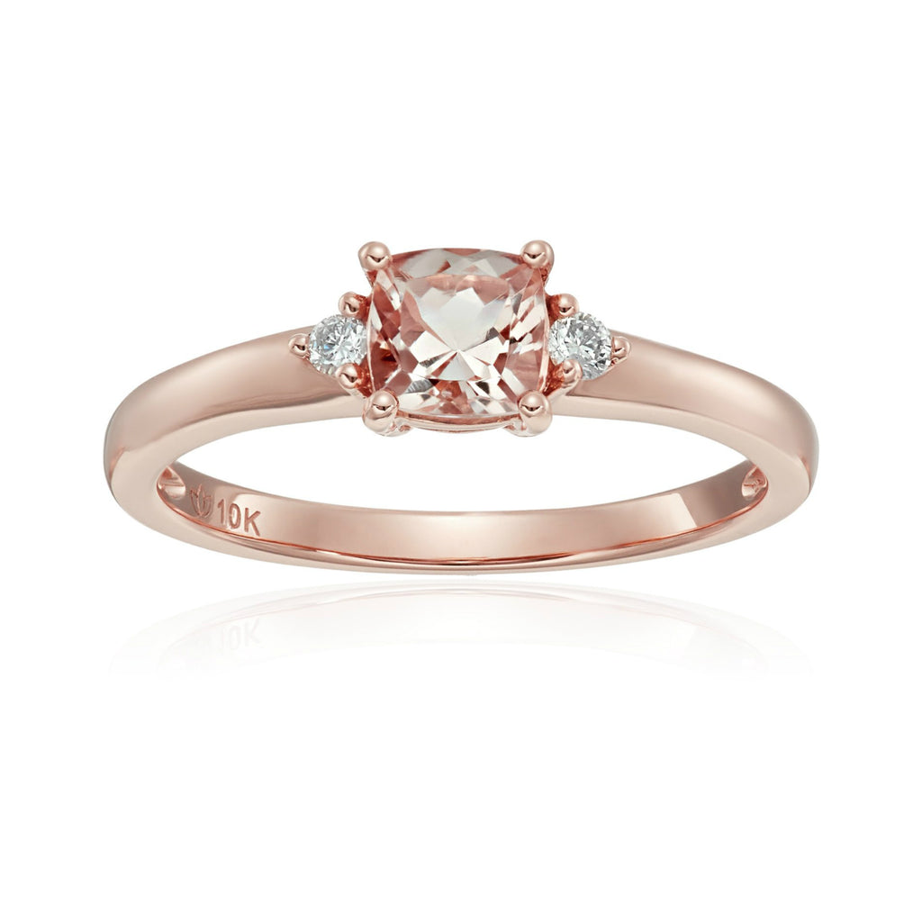 10k Rose Gold Morganite and Diamond Accented Classic Solitaire Engagement Ring - pinctore