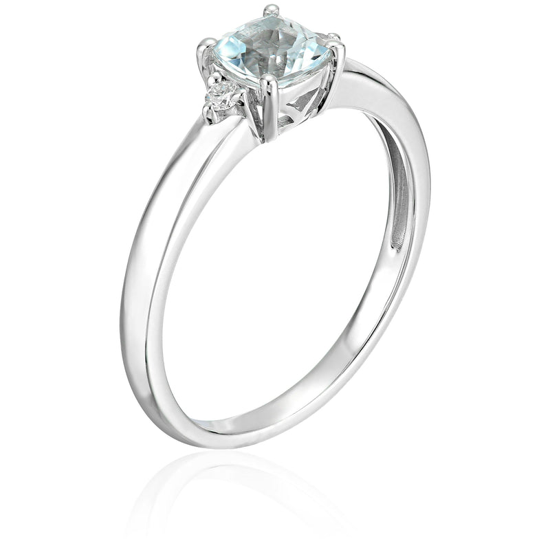 10k White Gold Aquamarine and Diamond Accented Classic Solitaire Engagement Ring - pinctore