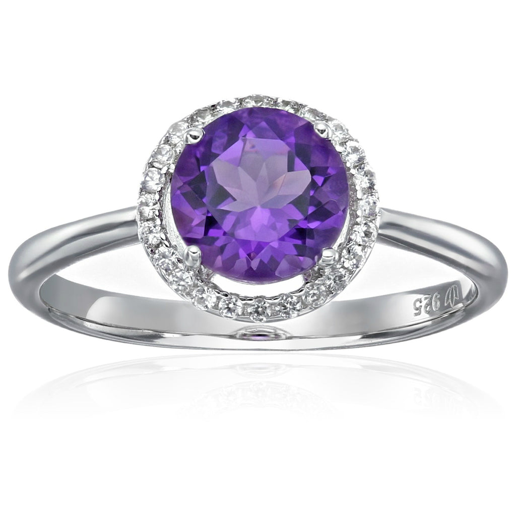 Sterling Silver African Amethyst And Natural White Zircon Classic Round Princess Di Halo Engagement Ring - pinctore