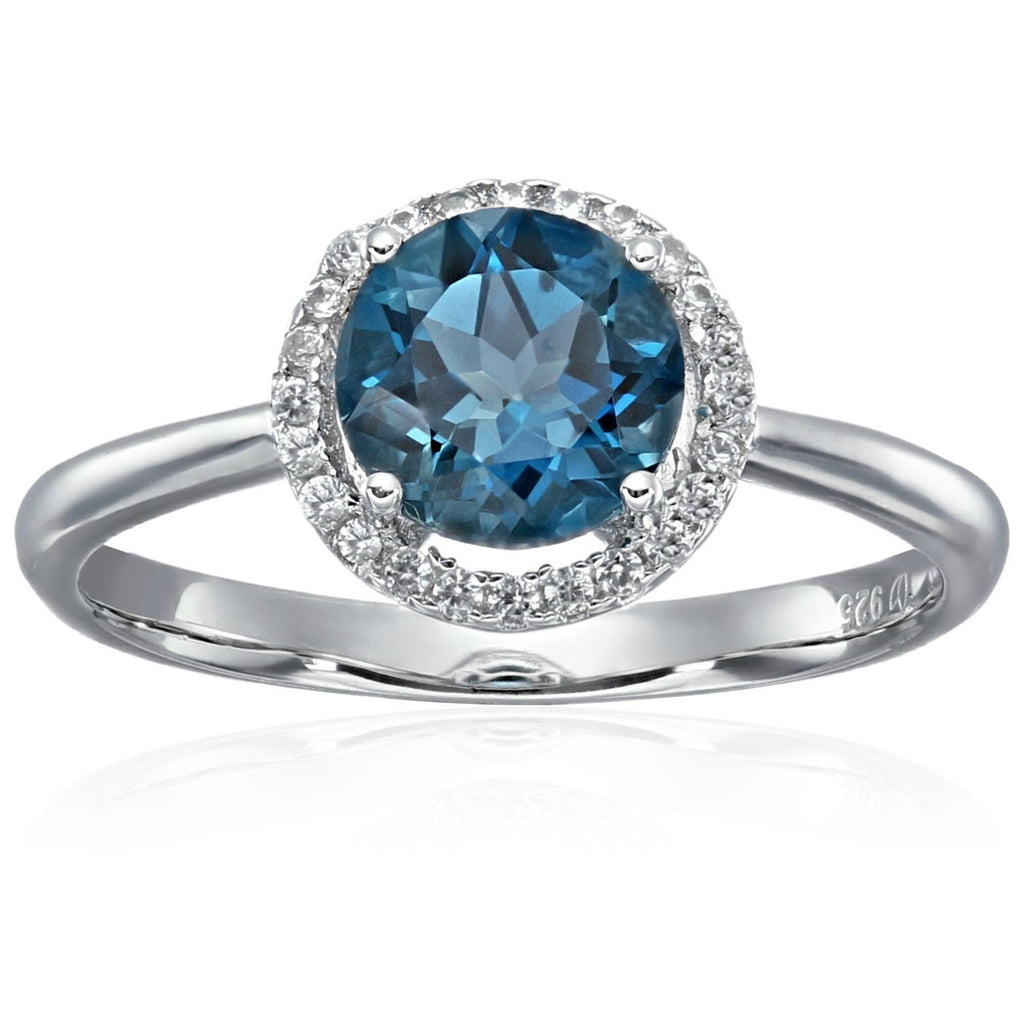 Sterling Silver London Blue Topaz And Natural White Zircon Classic Round Princess Di Halo Engagement Ring - pinctore