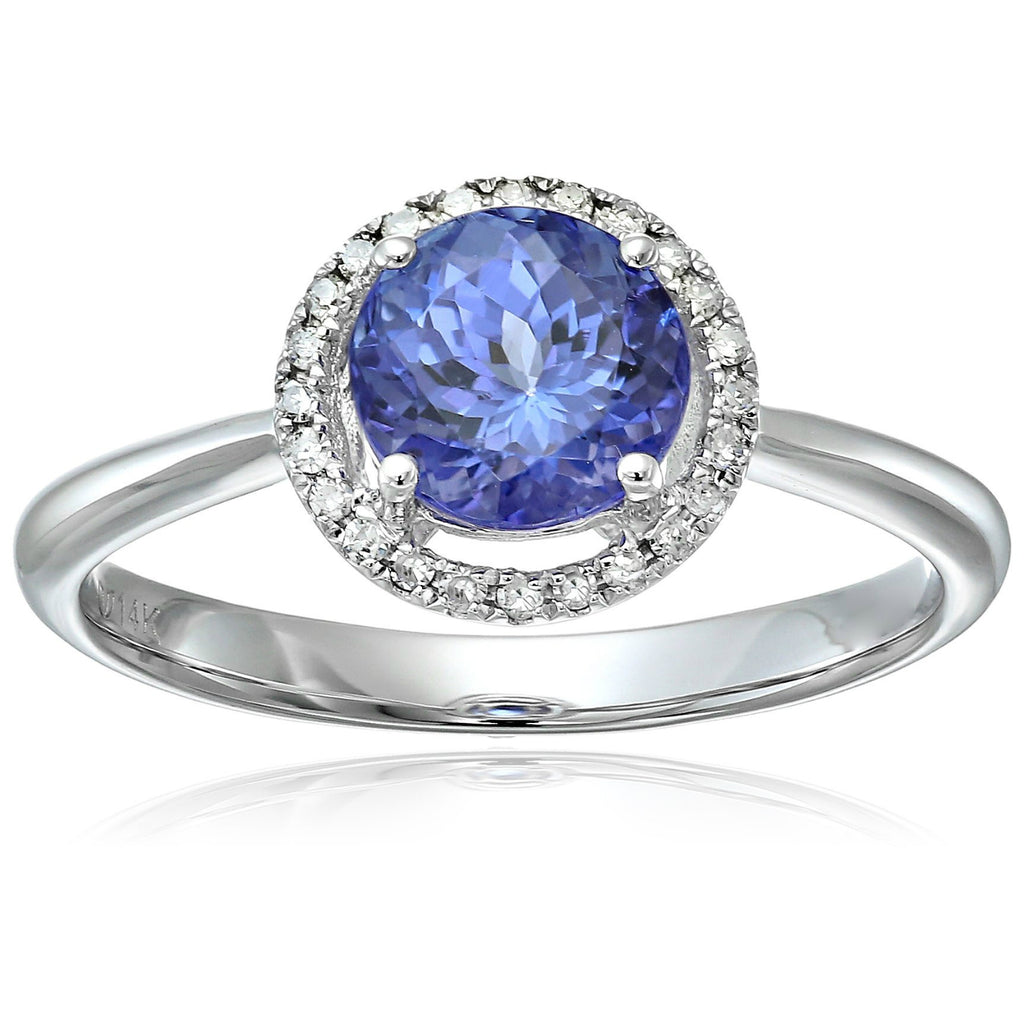 14k White Gold AAA Tanzanite And Diamond Classic Round Princess Di Halo Engagement Ring (1/10cttw, H-I Color, I1-I2 Clarity), - pinctore