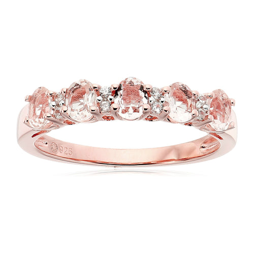 Pinctore Rose Gold-Plated Silver Morganite and White Zirconia 5-stone Stackable Ring - pinctore
