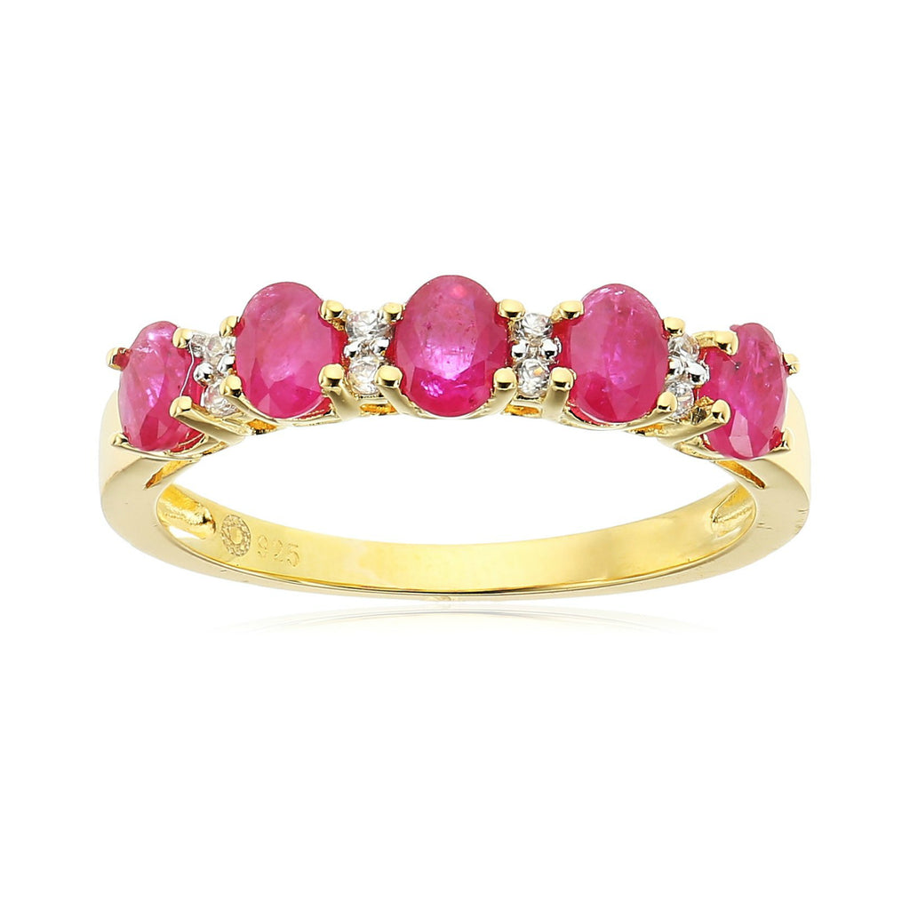 Pinctore Yellow Gold-Plated Silver Burmese Ruby and White Zirconia 5-stone Stackable Ring - pinctore