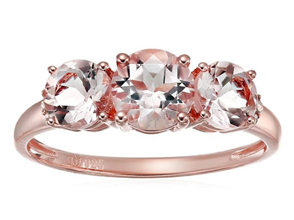Pinctore Rose Gold-Plated Silver Morganite and Diamond Accented 3-stone Engagement Ring - pinctore